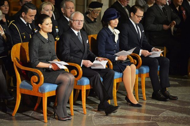 La famille royale de Suède à la cérémonie commémorative pour les victimes du tsunami à la cathédrale d'Uppsala