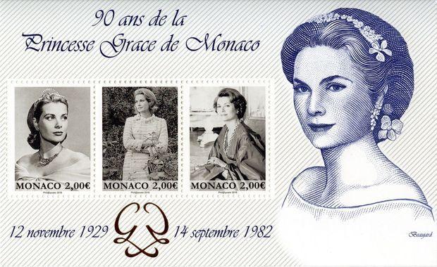 Le bloc émis par l'OETP de Monaco en 2019 en l'honneur des 90 ans de la princesse Grace de Monaco