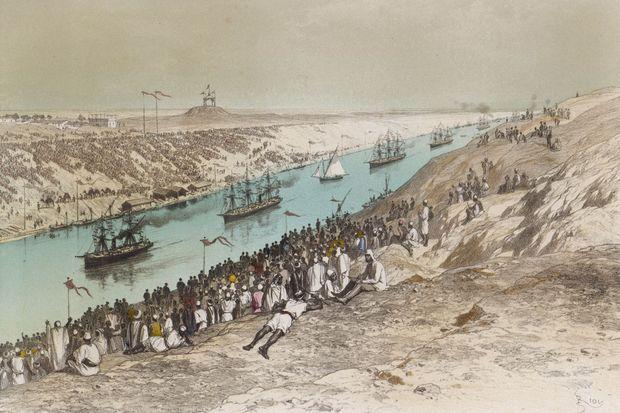 La procession des bateaux pour l'inauguration du canal de Suez le 17 novembre 1869