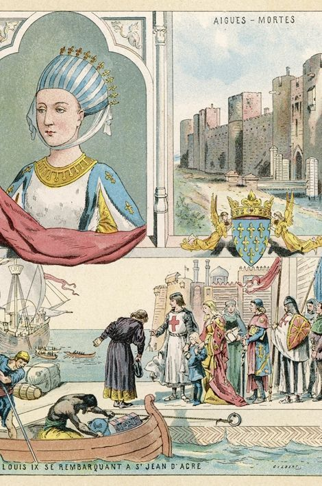 Gravure figurant Marguerite de Provence qui accompagne Louis IX à la croisade