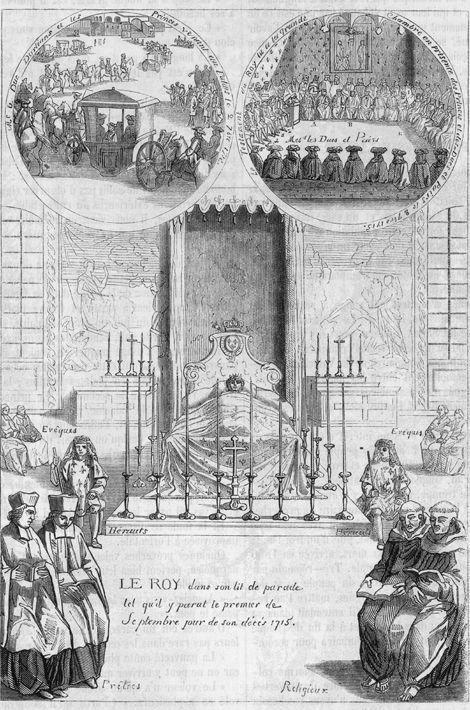Gravure du XIXe siècle figurant la chambre mortuaire de Louis XIV les 1er et 2 septembre 1715