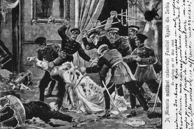 Assassinat du roi et de la reine de Serbie le 11 juin 1903. Gravure