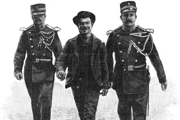 Luigi Lucheni, l'assassin de l'impératrice Elisabeth d'Autriche. Dessin 1898