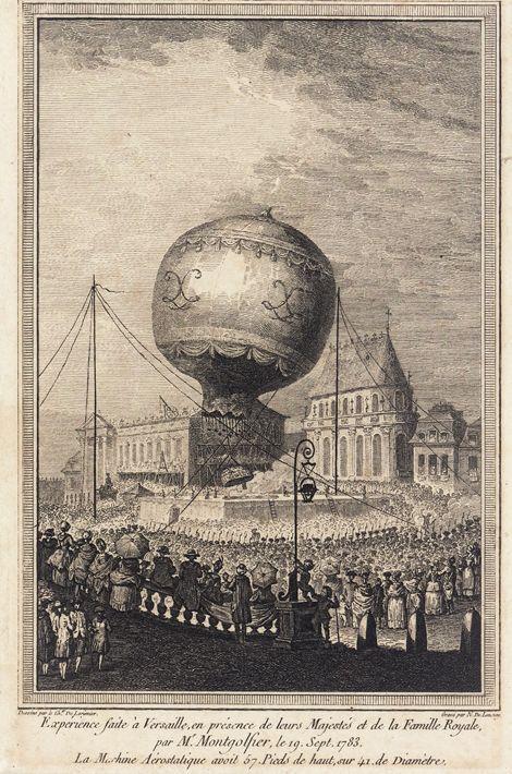 Gravure du premier vol d'une montgolfière à Versailles, le 14 septembre 1783