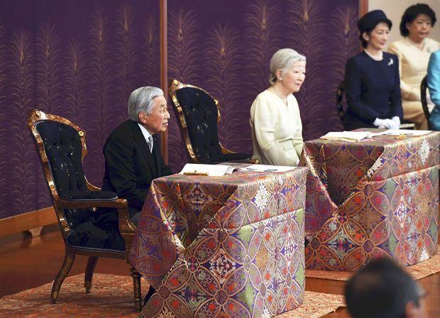 L'empereur Akihito du Japon et l'impératrice Michiko à Tokyo, le 11 janvier 2019