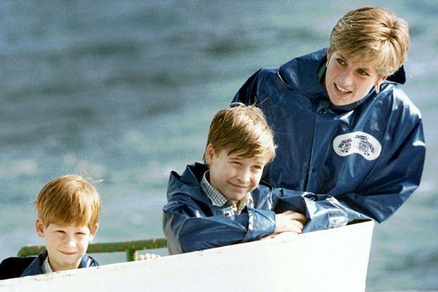 Harry et William avec Diana en 1991
