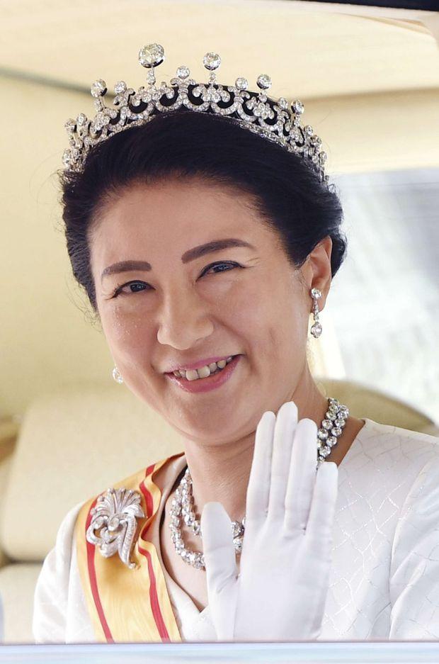 L'impératrice Masako du Japon coiffée de la Meiji Tiara, à Tokyo le 1er mai 2019