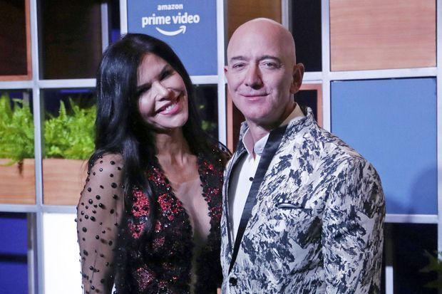 Lauren Sanchez et Jeff Bezos à Mumbai le 16 janvier 2020