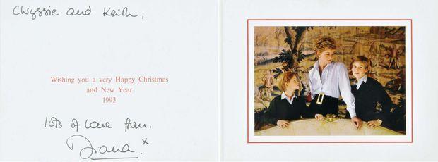 L'une des cartes de voeux 1993 de la princesse Diana, vendue aux enchères en mars 2010