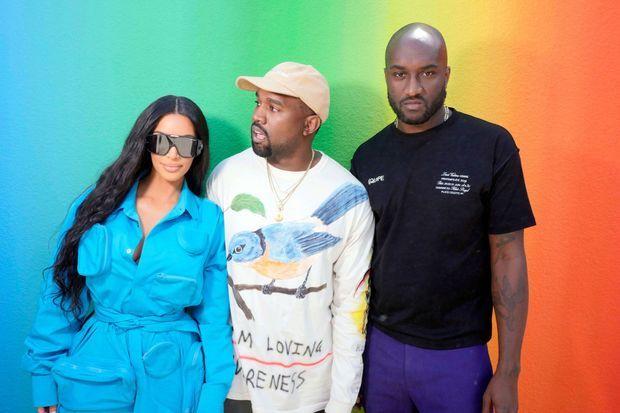 Kim Kardashian, Kanye West et Virgil Abloh au défilé en juin 2018 à Paris.