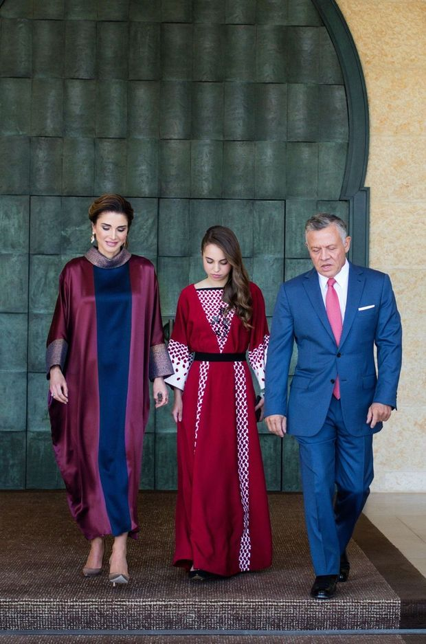 La reine Rania et le roi Abdallah II de Jordanie avec la princesse Salma à Amman, le 24 mai 2018