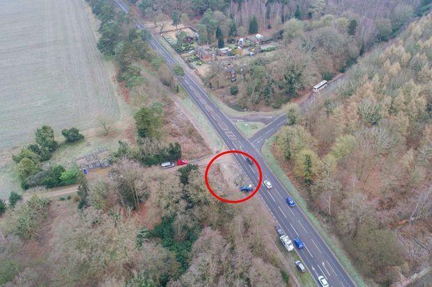 Le lieu de l'accident du prince Philip à Sandringham, le 18 janvier 2019