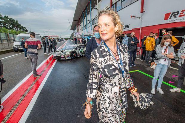 La princesse Delphine de Belgique sur le circuit de Zolder, le 6 août 2021