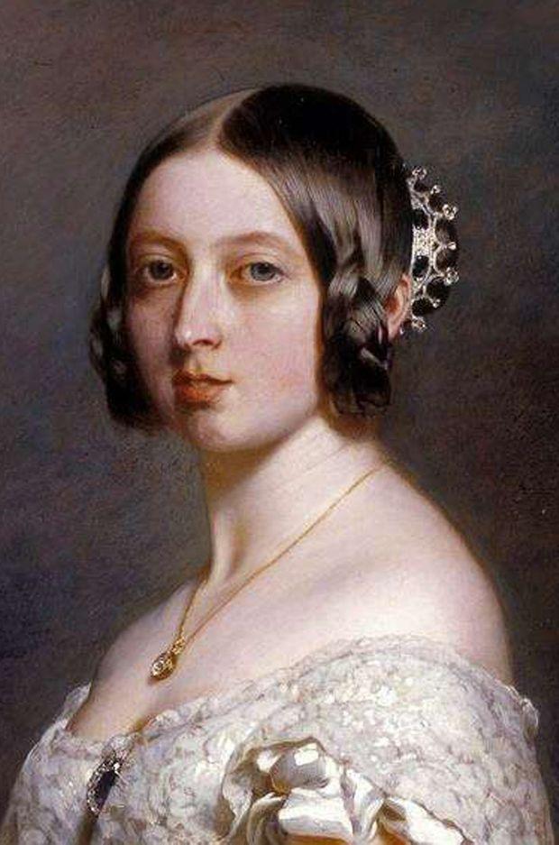 Portrait de la reine Victoria en 1842 par Franz Xaver Winterhalter (détail)