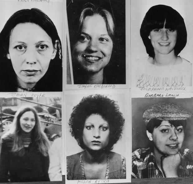 Six des treize victimes du tueur en série:Vera Millward, Jayne MacDonald, Josephine Whittaker, Jean Royle, Helga Rytka, Barbara Leach