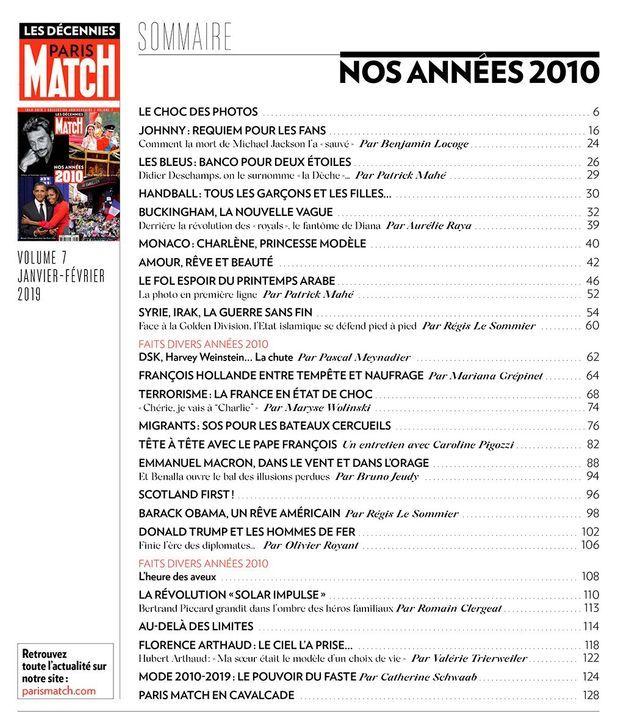 """Le sommaire du hors-série """"Paris Match : nos années 2010"""""""