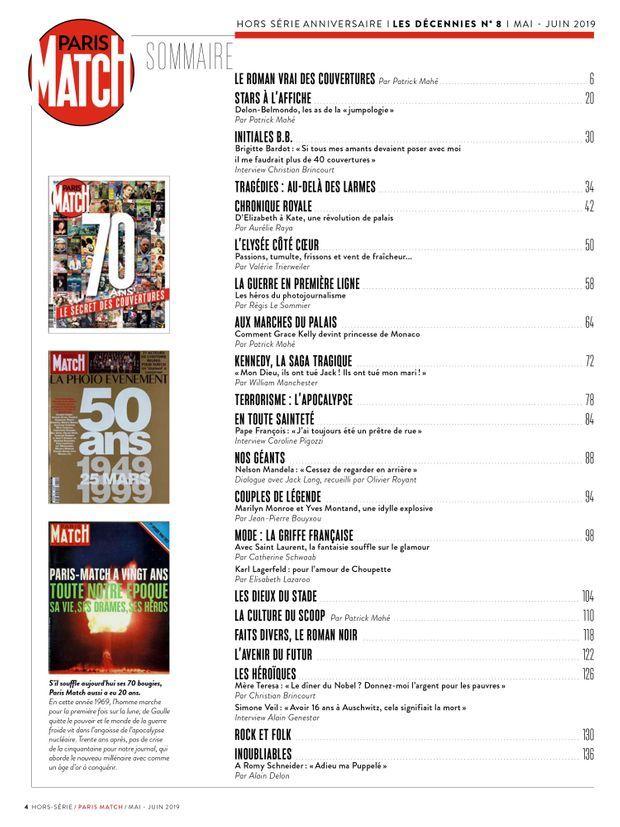 Le sommaire de notre hors-série anniversaire « 70 ans, le secret des couvertures de Match », 148 pages de photos et d'anecdotes exclusives...
