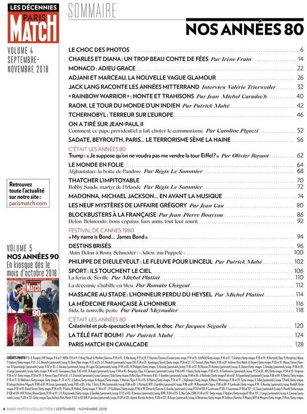 """Le sommaire du hors-série """"Paris Match : nos années 1980"""""""