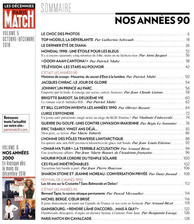 """Le sommaire du hors-série """"Paris Match : nos années 1990"""""""