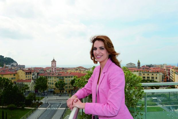 Sonia Mabrouk sur le toit de l'hôtel Aston La Scala de Nice, le 1er juin 2018