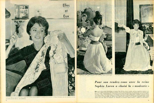 « Pour son rendez-vous avec la reine, Sophia Loren a choisi la 'modestie' » - Paris Match n°449, 16 novembre 1957