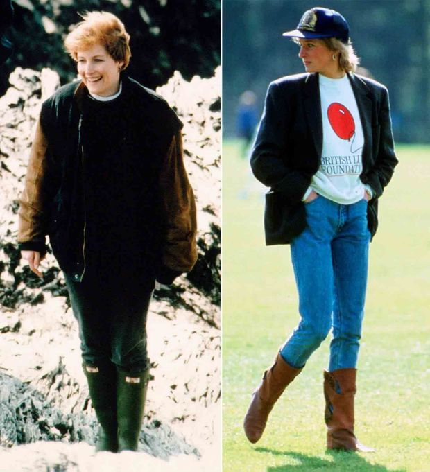 """""""Pendant les vacances ou les week-ends décontractés, l'une comme l'autre optent pour les jeans, les pulls et les bottes."""" - Paris Match n°2591, 21 janvier 1999. Sophie en 1994, Diana en 1988."""