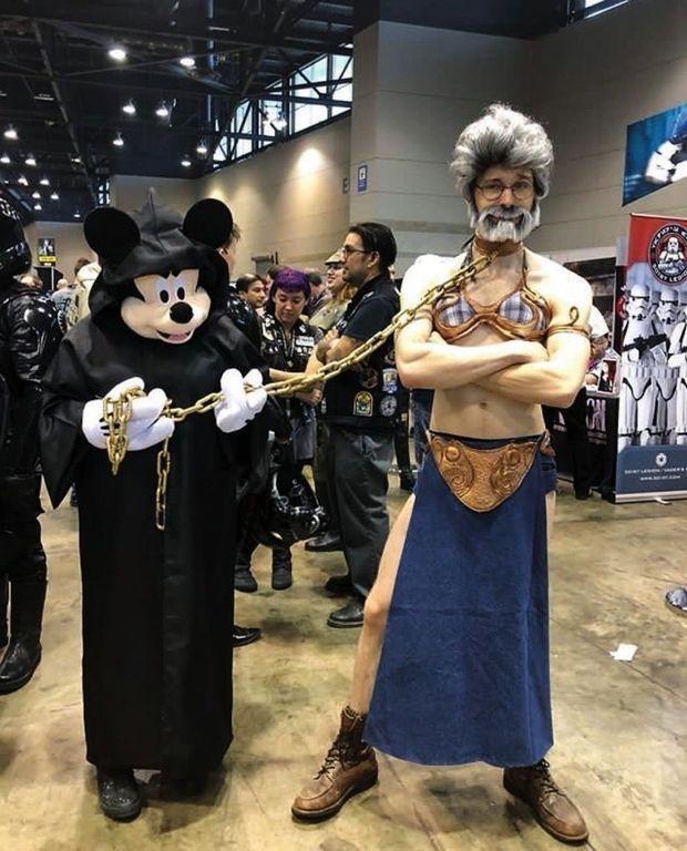 Un Mickey jedi et une princesse Leia Lucas.