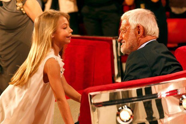 """Stella et son père en 2013 sur le plateau de """"Vivement dimanche""""."""