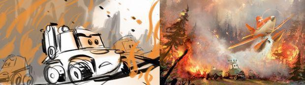 A g. un extrait du story-board. Les dessinateurs se concentrent surtout sur les expressions des personnages. A droite : le feu a demandé trois ans de travail aux animateurs pour arriver à un résultat proche du réel.
