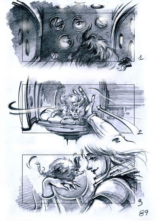 """Un extrait du story-board de """"Valérian et la Cité des mille planètes""""."""