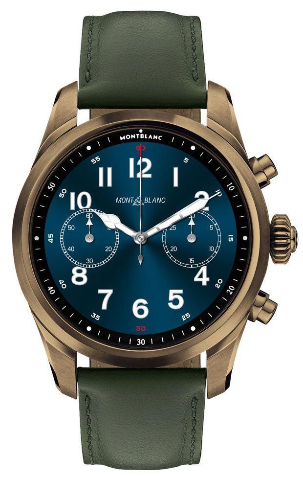 Summit 2+ en acier PVD bronze, 43, 5 mm de diamètre, bracelet interchangeable, à partir de 1180 €. Montblanc.