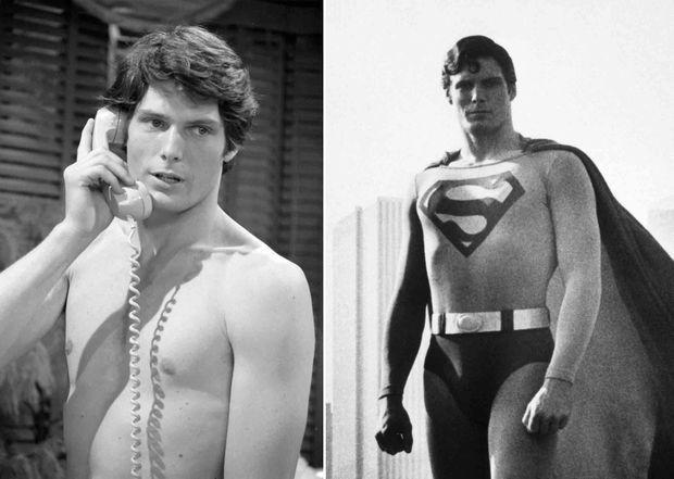 « Engagé malgré sa maigreur il a dû prendre 10 kilos de muscles. Il a fallu trois ans au metteur en scène Richard Donner pour découvrir son Superman. Les plus grandes stars de Hollywood s'étant récusées, on lui présenta un comédien assez obscur de la T.v., Christopher Reeve. Donner le jugea d'abord trop jeune, puis trop maigre et proposa de lui faire porter sous son maillot des muscles en styrofam. Reeve, 26 ans, refusa. Pendant deux mois, sous la direction de M. Univers, il a subi un entraînement accéléré d'athlète et de para, perfectionnant ses « décollages » d'homme volant avec une trampoline. Il a pris dix kilos en faisant cinq repas copieux par jour. 'Quand je volais dans les airs, raconte-t-il, j'ai eu beaucoup de mal à rester stable les jambes et les bras tendus. A la fin de certaines séquences, suspendu pendant des heures, j'étais couvert de bleus et d'ampoules.' Il a reçu comme cachet 250 000 dollars (1 million cent mille francs). Superman II , ce sera lui. » - Paris Match n°1549, 2 février 1979. À gauche, Christopher Reeve dans le soap opera qui l'a fait connaitre, Love of Life,' en 1975. À droite, Reeve en Superman en 1978.