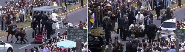 Sur le passage de la papamobile à Iquique, au Pérou, le cheval d'une gendarme se cabre et la jette au sol. Le Souverain Pontife se précipite à ses côtés et la réconforte jusqu'à l'arrivée de sa propre ambulance, qui évacue la blessée.