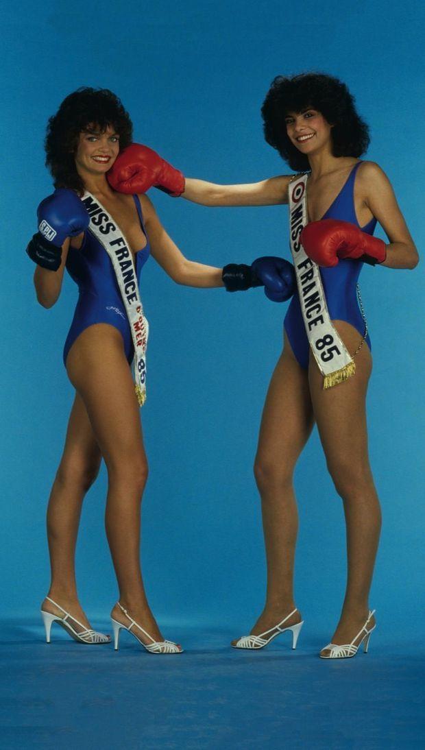 Sur le ring. L'année 1985 récompense deux championnes : Natalie Jones, Miss France d'outre-mer, et Suzanne Iskandar (à dr.), Miss France.