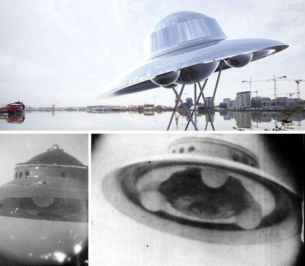 En haut, le vaisseau de Suzanne Treister. En bas, les photos du contacté Admaski. On retrouve les mêmes demi-sphères placées sous la soucoupe.
