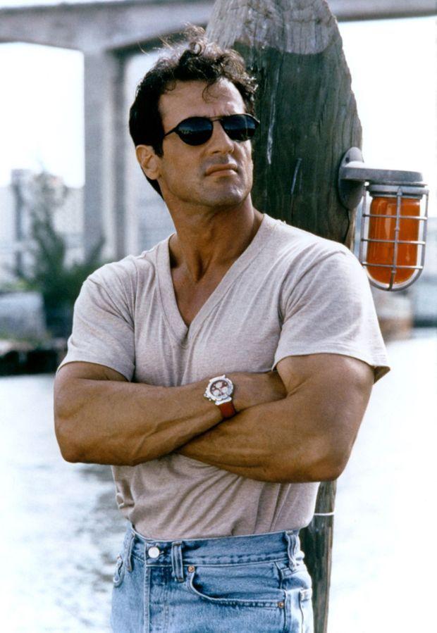 """Sylvester Stallone sur le tournage du film """"Le spécialiste"""" en 1994."""