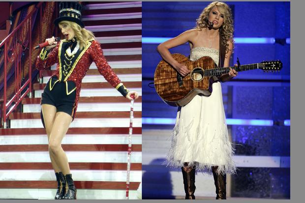 """Taylor Swift sur le thème duc irque pour son album """"Red"""" (à gauche) et au début de sa carrière country (à droite)"""