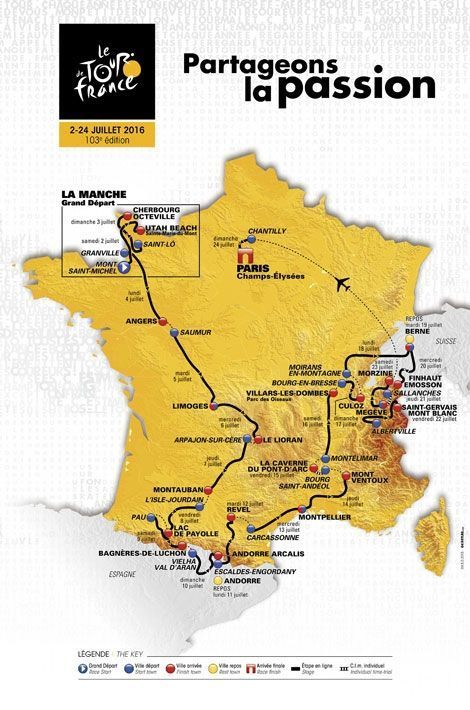 Le parcours du Tour de France 2016