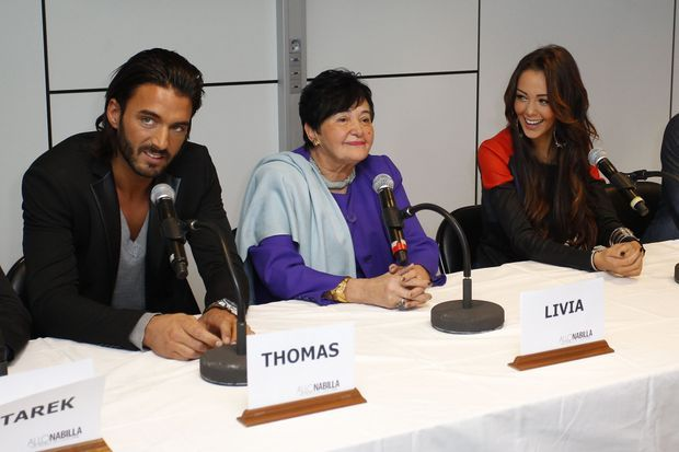 Thomas, Livia et Nabilla, en octobre 2013.