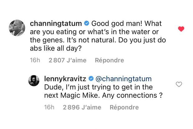 Echange entre Channing Tatum et Lenny Kravitz.