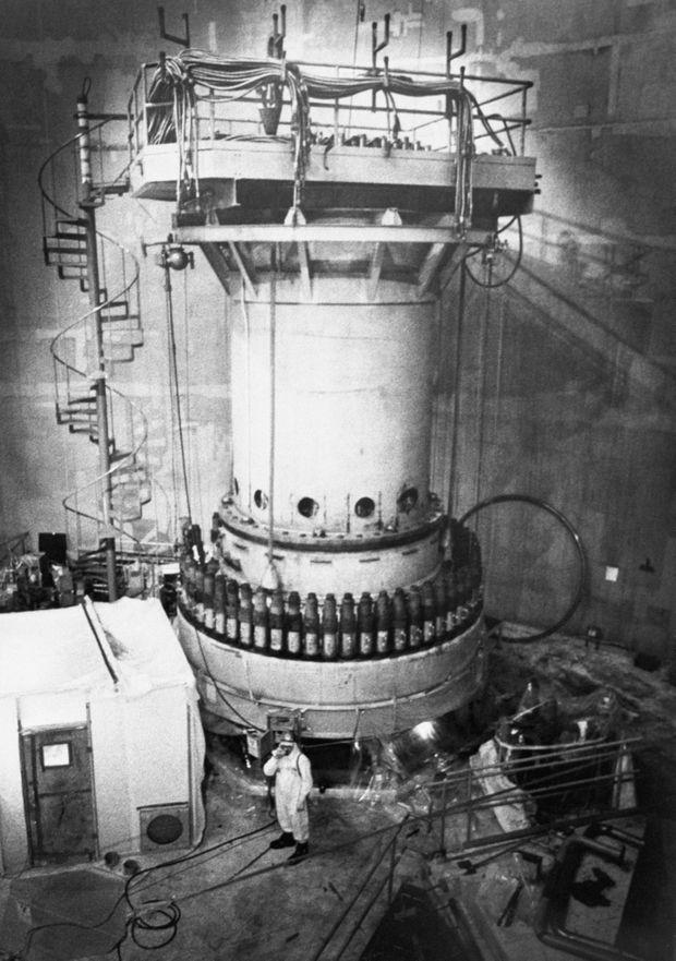 Partie supérieure du réacteur numéro 1, à Three Mile Island, le jour de l'incident qui a eu lieu dans le réacteur numéro 2.