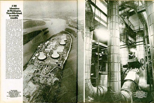« À g. : Vue aérienne de « l'Ile maudite », sur laquelle a été construite la centrale nucléaire. «On dirait un bateau en perdition, ont dit les commentateurs de la télé. Explosera-t-il ? - À dr. : C'est là que l'accident a eu lieu : la bulle de gaz a eu lieu, en fait, sous le transbordeur. Cette photo a été prise avant l'accident alors qu'on renouvelait les barres d'uranium enrichi dans la partie n°2 (Unit 2) du réacteur. » - Paris Match n°1559, 13 avril 1979.
