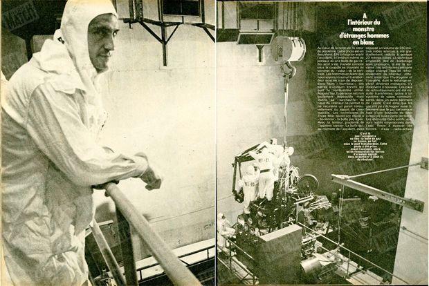 « C'est dans ces vastes tuyaux, des condensateurs, que l'eau de refroidissement était envoyée jusqu'au coeur de la centrale. Un tuyau bouché a provoqué l'accident. » - Paris Match n°1559, 13 avril 1979.
