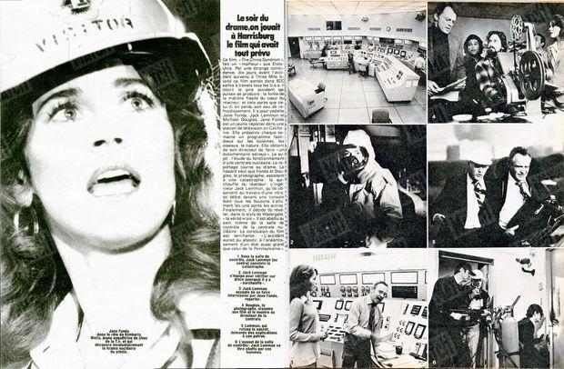 « Jane Fonda dans le rôle de Kimberly Wells, jeune enquêtrice de choc de la T.v. et qui découvre involontairement le drame nucléaire du siècle. » - Paris Match n°1559, 13 avril 1979.