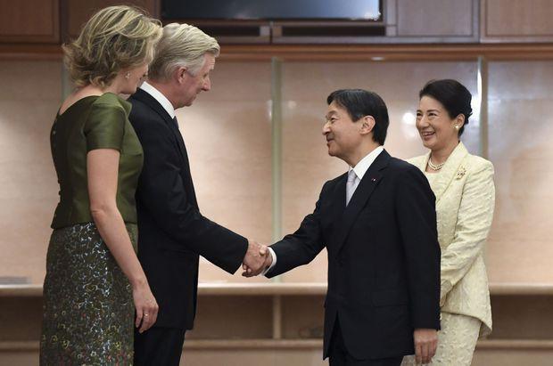 Tokyo, octobre 2016. Mathilde et Philippe avec le prince Naruhito et la princesse Masako du Japon lors de la visite d'Etat au Japon.