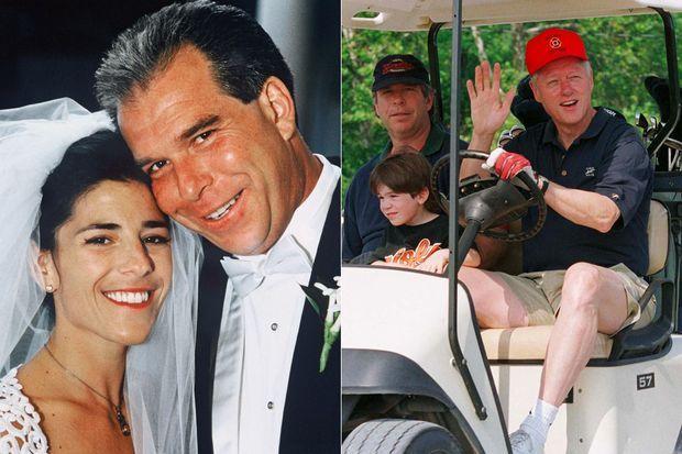 Tony Rodham, le frère d'Hillary Clinton, a épousé Nicole Boxer en 1994. A droite, avec son fils Zach et Bill Clinton au golf à Camp David, en 1999.