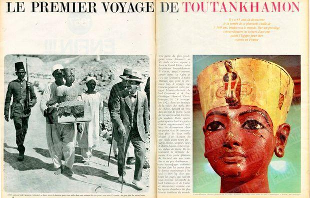 """""""Il y a 45 ans, la découverte de la tombe de ce pharaon, vieille de 3300 ans, bouleversa le monde. Par un privilège extraordinaire, ces trésors d'art ont quitté l'Egypte pour être exposés en France."""" - Paris Match n°929, 28 janvier 1967."""