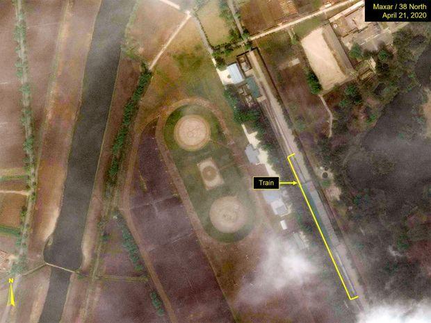 Vue satellite d'un train supposé être celui du dictateur nord-coréen, Kim Jong Un, le 21 avril.