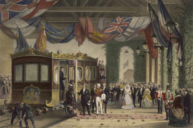 Gravure montrant la reine Victoria accueillant le roi des Français Louis-Philippe dans son train royal à Osborne, en 1844