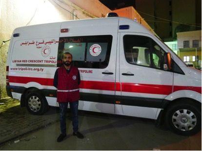Abdel Karim, bénévole pour le Croissant rouge, au siège de l'ONG à Tripoli, mai 2019